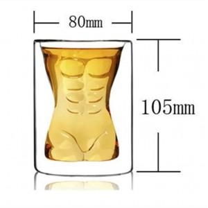 Стъклена чаша - шот Мъжко тяло, 150мл