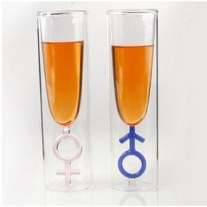 Стъклена чаша за шампанско и бяло вино, Мъжки знак, 100мл