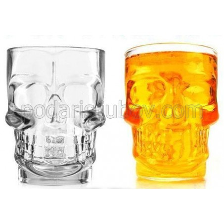 Стъклена халба за бира Череп, 500мл