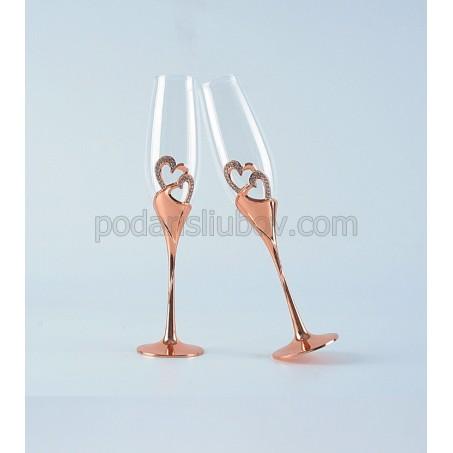 """Сватбени чаши за шампанско """"Розови сърца"""" в кутия"""