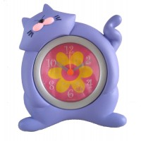 Детски часовник Лилава котка, настолен