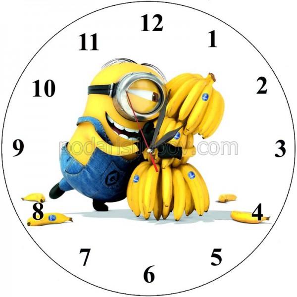 Детски стенен часовник Миньон с банани, d 26см
