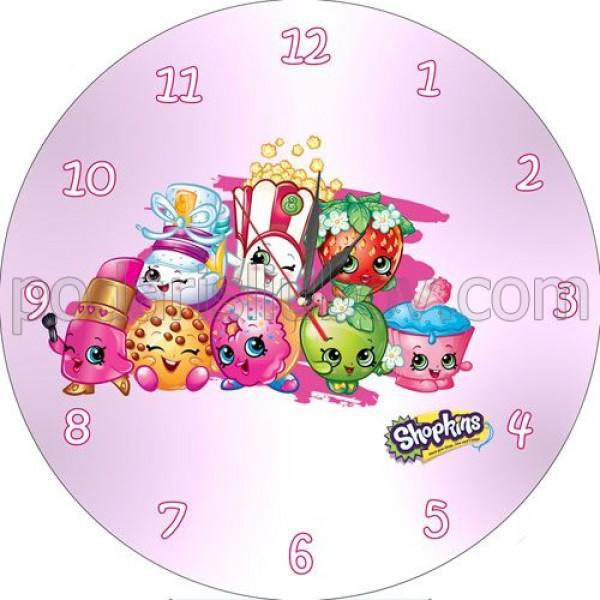 Детски стенен часовник с героите от Shopkins, d 26см