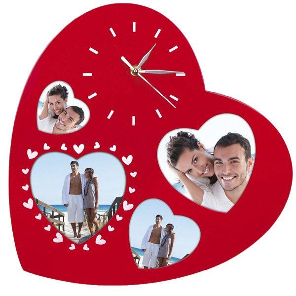 Любовен часовник Сърце с място за 4 Ваши снимки!