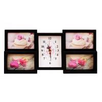 Часовник в рамка - колаж за 4 бр. снимки, черен/бял цвят