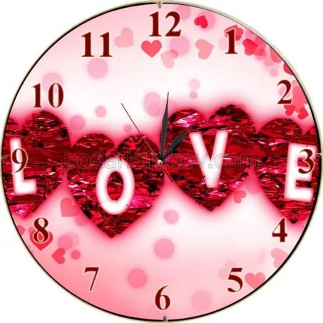 Стенен часовник LOVE, d26см