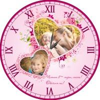 Стенен часовник с 2 снимки за 8 март