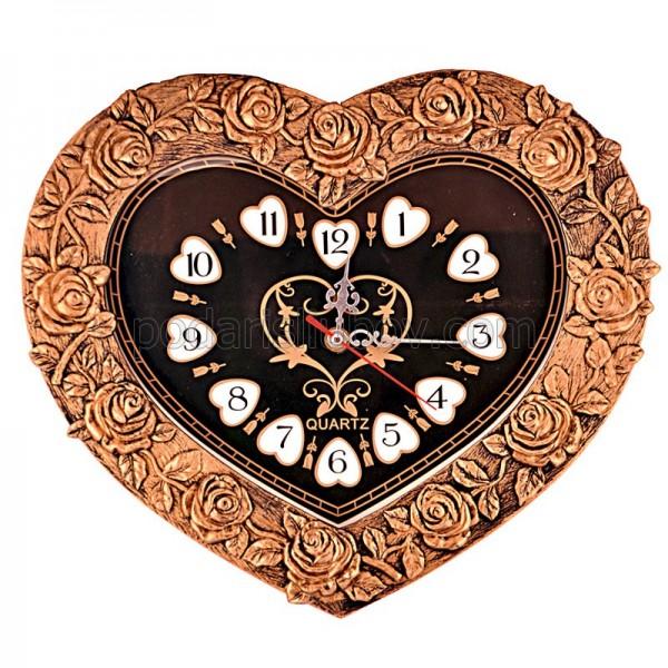 Стенен часовник Сърце от рози, ретро мотиви