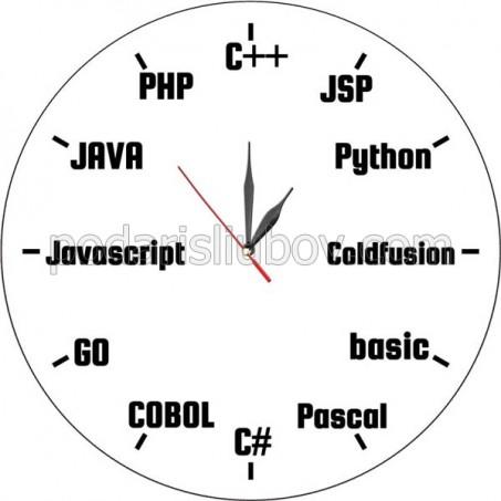 Стенен часовник за програмисти, d 26см