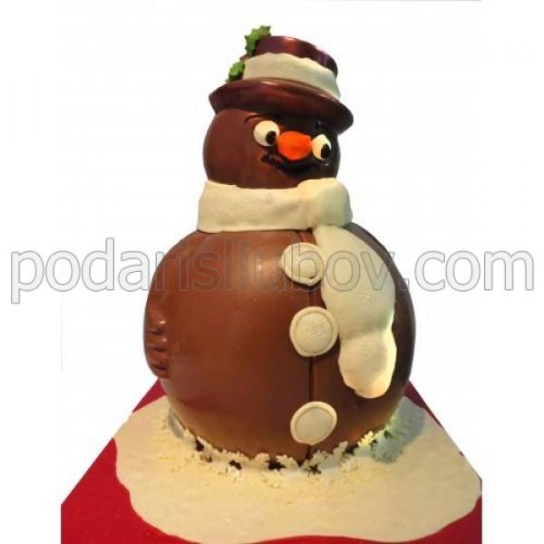 Голям шоколадов снежен човек с шалче