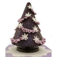 Шоколадова елха с лилави елементи