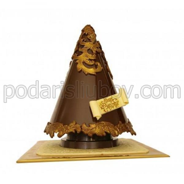 Шоколадова елха в златен вариант