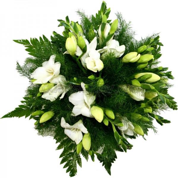 Букет от 11 прелестни фрезии и зелена декорация