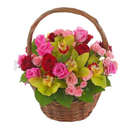 """Кошница с рози и орхидеи """"За моето прекрасно момиче"""""""