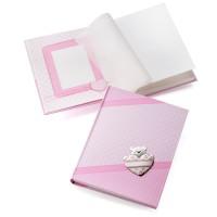 Бебешки албум с посребрена декорация, розов цвят