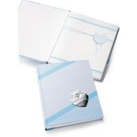 Бебешки албум с посребрена декорация, син цвят