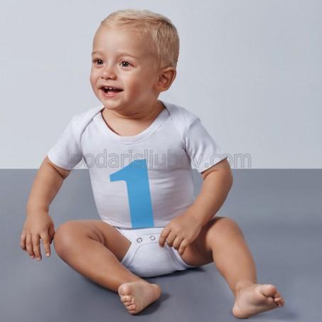 Бяло бебешко боди с къс ръкав, с Ваш надпис или цифра