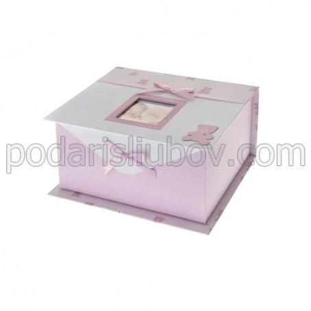 Детска кутия за снимки и спомени, розов цвят