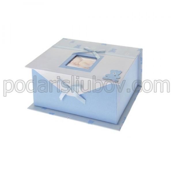 Детска кутия за снимки и спомени, син цвят