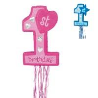 Детска пинята за 1-ви рожден ден, розова/синя