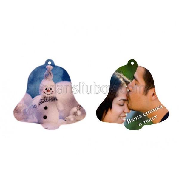 Коледна играчка с Ваша снимка и текст, Камбанка