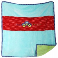 Бебешка завивка (тънко одеялце)  с кола за момче, 70*88см
