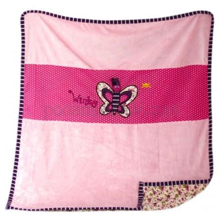 Бебешка завивка (тънко одеялце)  с пеперудка за момиче, 70*88см