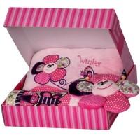 Бебешки сет за момиче с одеялце, възглавничка и цвете-латерна