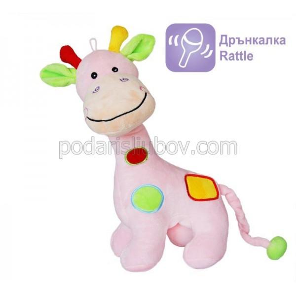 Плюшена играчка - жираф, 40см, с дрънкалка