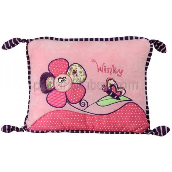 Плюшена розова възглавница с цвете, 26*35см