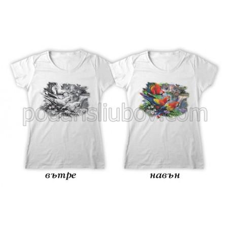 Дамска соларна тениска 3 папагала