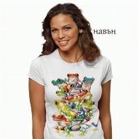 Дамска соларна тениска Цветни жаби