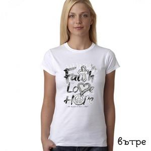 Дамска соларна тениска Faith, love, hope