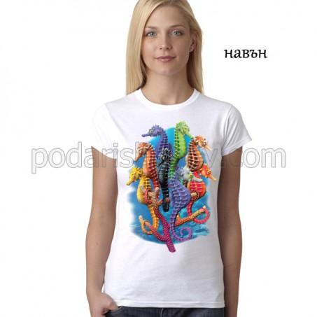 Дамска соларна тениска Морски кончета