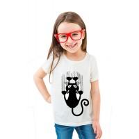Бяла детска тениска Висяща котка