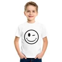 Детска тениска Намигнал емотикон, бяла, унисекс