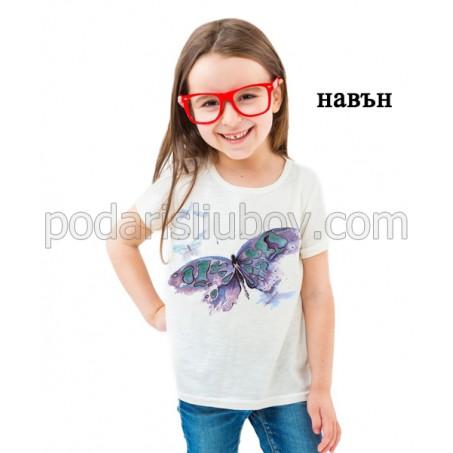 Детска соларна тениска Пеперуда, водни боички