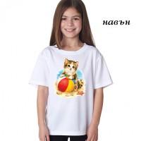 """Детска соларна тениска """"Коте на плажа"""""""