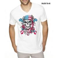 """Мъжка соларна тениска """"Американски череп"""""""