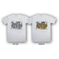 """Мъжка соларна тениска """"Два тигъра"""""""