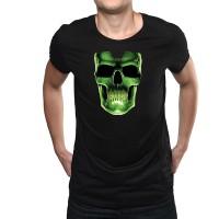 """Мъжка черна тениска """"Неонов череп"""", малка щампа"""