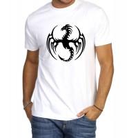 Мъжка тениска Дракон в бял/черен цвят