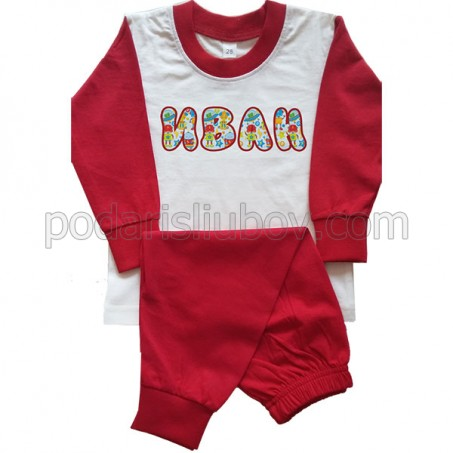 Детска пижама с име на детето (дълъг ръкав), червена