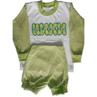 Детска пижама с име на детето (дълъг ръкав), зелена