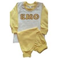 Детска пижама с име на детето (дълъг ръкав), жълта