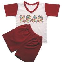 Детска пижама с име на детето (къс ръкав), червена