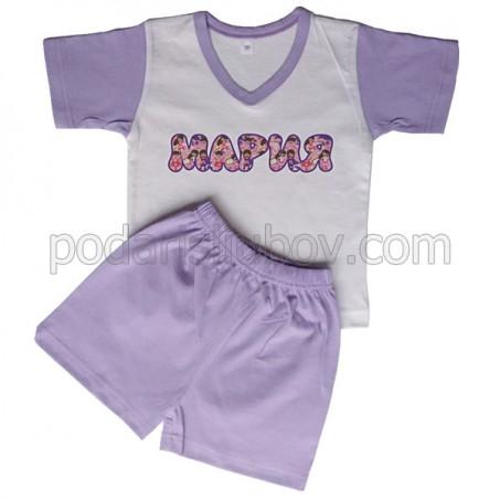 Детска пижама с име на детето (къс ръкав), лилава