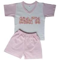 Детска пижама с име на детето (къс ръкав), розова