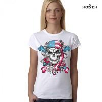 """Дамска соларна тениска """"Американски череп"""""""