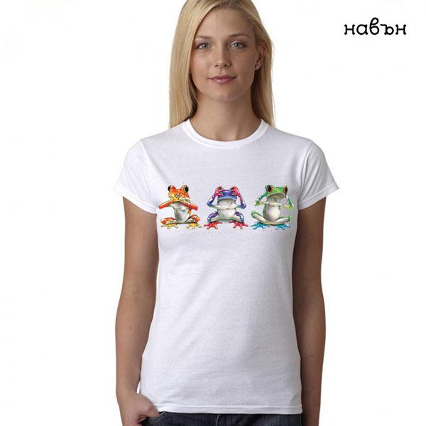 """Дамска соларна тениска """"Трите жабки: Не чул, не видял..."""""""